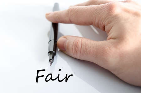 biased: Pen in the hand isolated over white background Fair