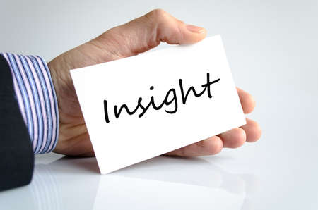 perceive: Insight note in business man hand Stock Photo