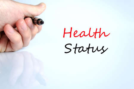 healt: Pen in the hand isolated over white background Healt Status concept Stock Photo
