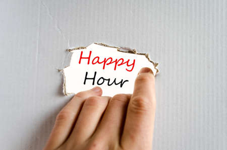 happyhour: Hand and text concept on the cardboard background