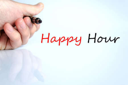 happyhour: Pen in the hand isolated over white background and text concept