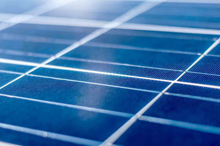 photoelectric: Detail of a photovoltaic panel for renewable electric production Stock Photo