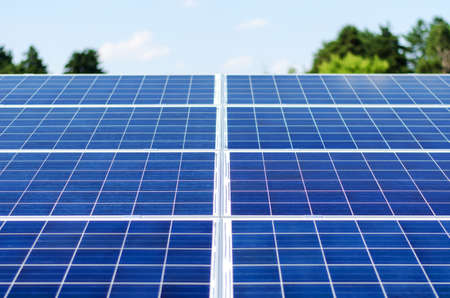 photovoltaic panel: Detail of a photovoltaic panel for renewable electric production Stock Photo