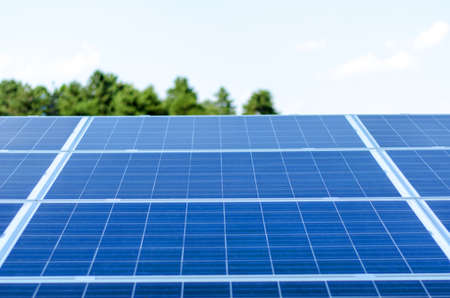 photocell: Detail of a photovoltaic panel for renewable electric production Stock Photo