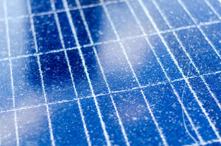 downtime: Detail of a broken photovoltaic panel for renewable electric production