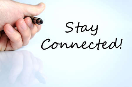 microblogging: Stay connected hand concept isolated over white background
