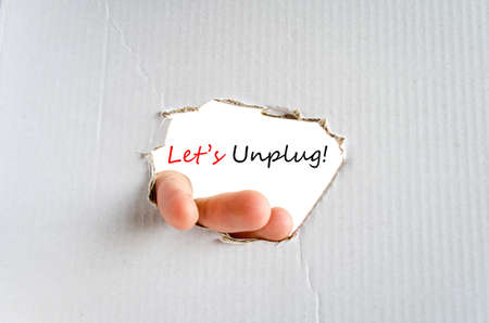 Lets unplug text concept isolated over white background Stock Photo