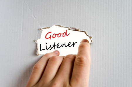 listener: Good listener text concept isolated over white background Stock Photo