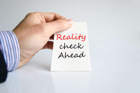 actuality: Reality check ahead text concept isolated over white background