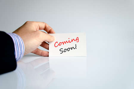 forthcoming: Coming soon text concept isolated over white background Stock Photo