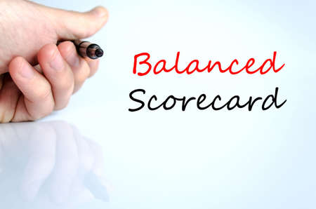 Balanced scorecard text concept isolated over white background Stock Photo