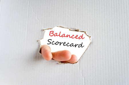 balanced budget: Balanced scorecard text concept isolated over white background Stock Photo