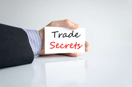privileged: Trade secrets text concept isolated over white background Stock Photo