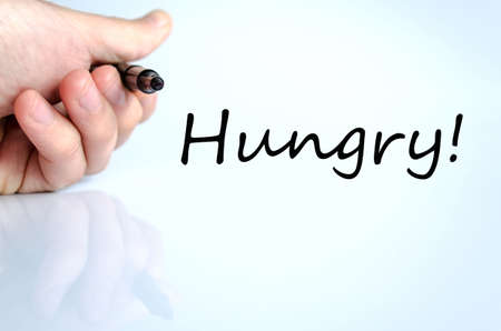 helplessness: Hungry text concept isolated over white background