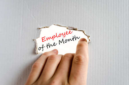 recognizing: Employee of the month text concept isolated over white background Stock Photo