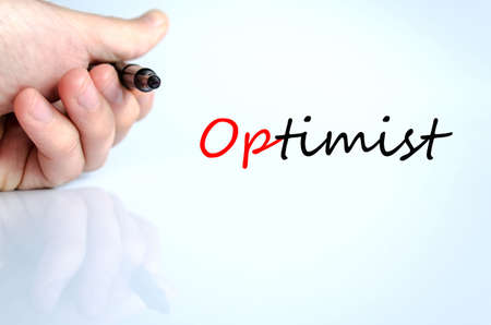 and an optimist: Optimist text concept isolated over white background