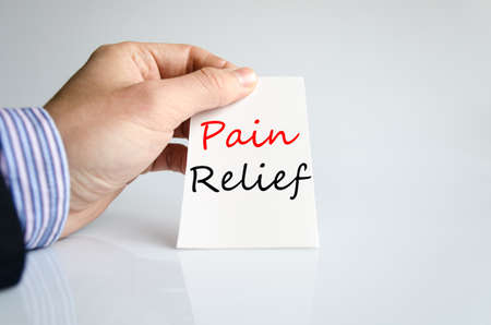 relieved: Pain relief text concept isolated over white background Stock Photo