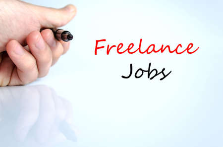 freelance: Freelance jobs text concept isolated over white background