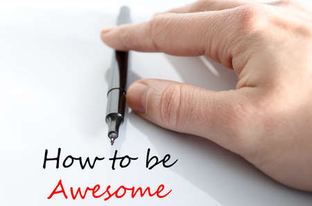strong message: How to be awesome text concept isolated over white background Stock Photo