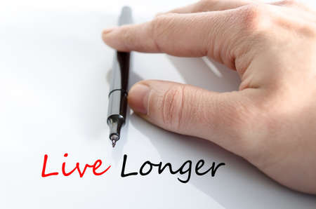 longer: Live longer text concept isolated over white background Stock Photo
