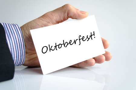 bier festival: Oktoberfest text concept isolated over white background Stock Photo
