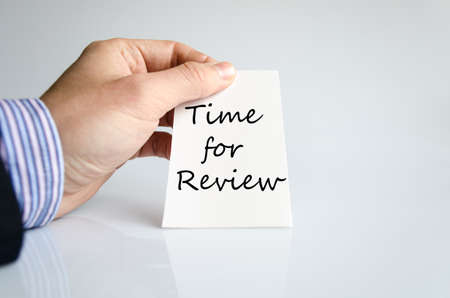reassessment: Time for review text concept isolated over white background Stock Photo