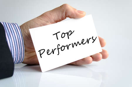 better performance: Top performers text concept isolated over white background
