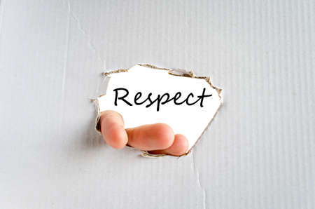 reputable: Respect text concept isolated over white background