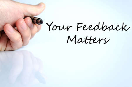 solicitation: Your feedback matters text concept isolated over white background