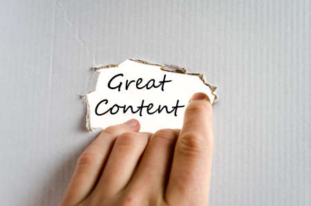 updating: Great content text concept isolated over white background Stock Photo