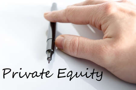equity: Private equity text concept isolated over white background Stock Photo
