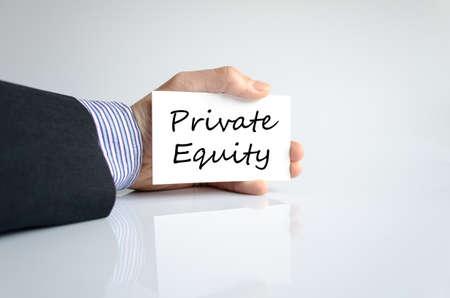 equidad: El capital privado concepto de texto aislados sobre fondo blanco Foto de archivo