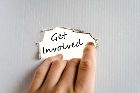 common goal: Get involved text concept isolated over white background