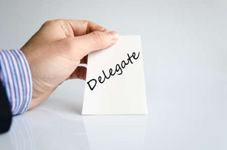 Delegate text concept isolated over white background Stock Photo