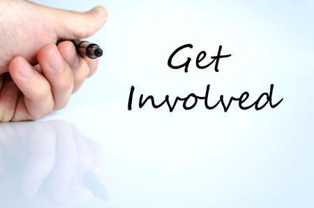 contributing: Get involved text concept isolated over white background