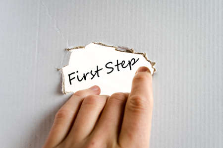 first step: First step text concept isolated over white background