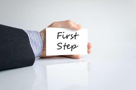 first step: Erster Schritt Text-Konzept isoliert �ber wei�em Hintergrund