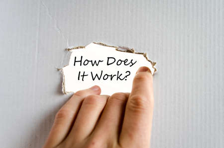 does: How does it work text concept isolated over white background