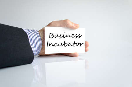Business incubator text concept isolated over white background Stock Photo
