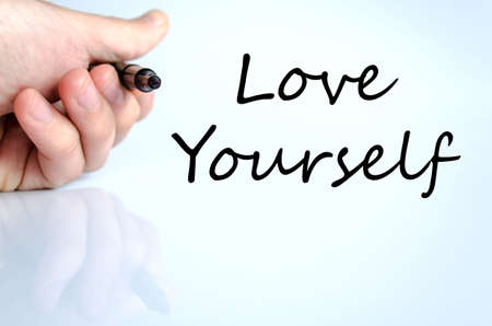 egoistic: Love yourself text concept isolated over white background