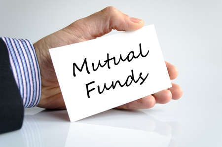 mutual: Mutual funds text concept isolated over white background