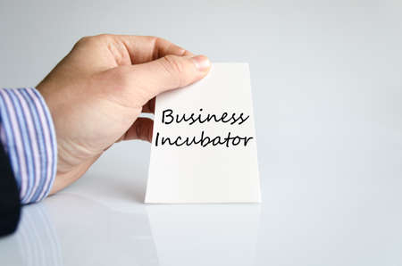 incubator: Business incubator text concept isolated over white background Stock Photo