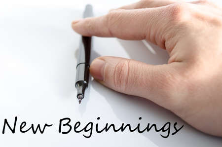 new beginnings: New beginnings text concept isolated over white background Stock Photo