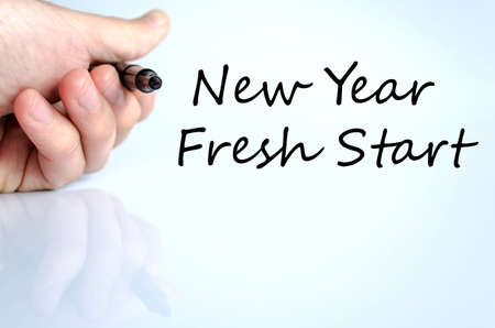 fresh start: New year fresh start text concept isolated over white background