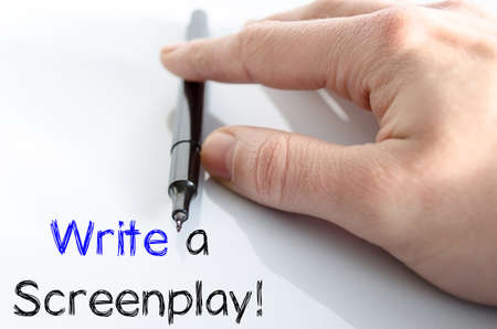 screenplay: Write a screenplay text concept isolated over white background Stock Photo