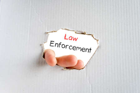 enforcement: Law enforcement text concept isolated over white background