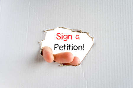 petition: Sign a petition text concept isolated over white background Stock Photo
