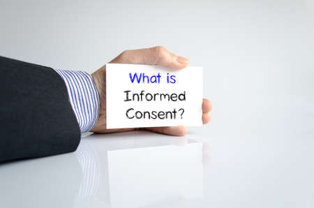 informed: What is informed consent text concept isolated over white background Stock Photo