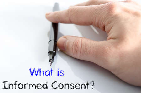 consent: What is informed consent text concept isolated over white background Stock Photo