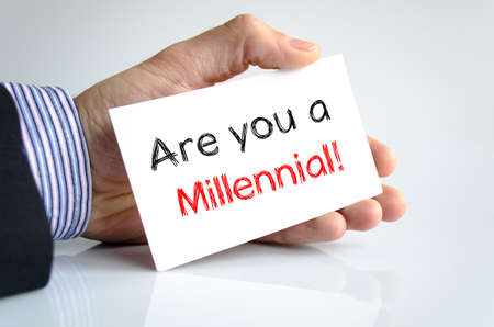 millennial: Are you a millennial text concept isolated over white background